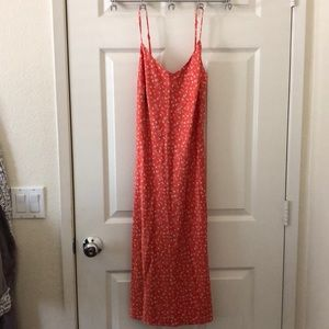 Forever 21 Silk Midi Dress - Coral Floral
